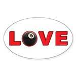 Billiard Love 3 Sticker (Oval 10 pk)