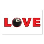 Billiard Love 3 Sticker (Rectangle 10 pk)
