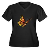 Butterfly Monarch Women's Plus Size V-Neck Dark T-