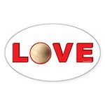Volleyball Love 3 Sticker (Oval 50 pk)