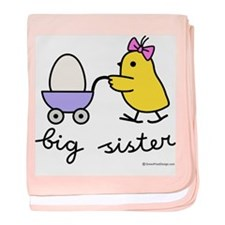 Cute Chick big sister baby blanket