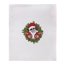 Santa Skull with Wreath Throw Blanket