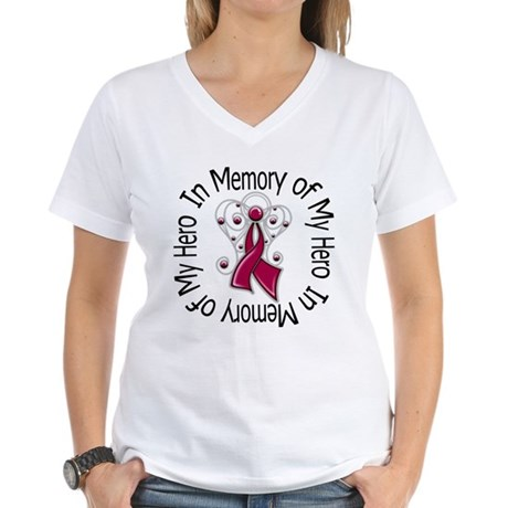 Myeloma In Memory Hero Women's V-Neck T-Shirt