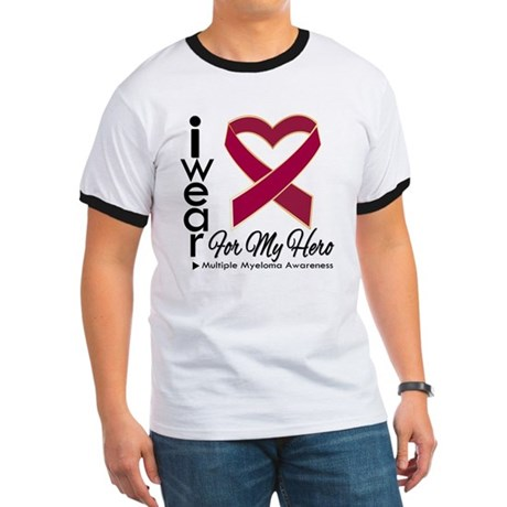 I Wear Ribbon Hero Myeloma Ringer T