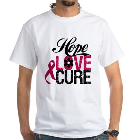 Hope Love Cure Myeloma White T-Shirt