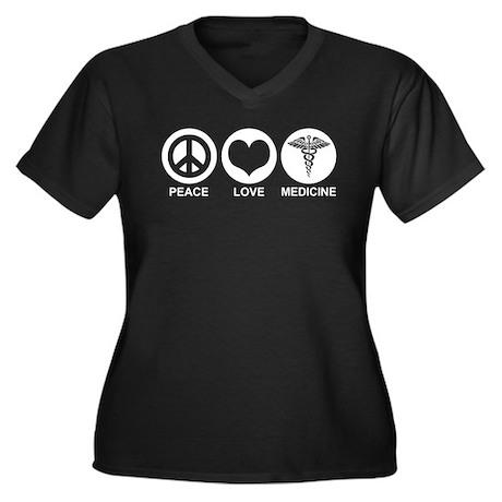 Peace Love Medicine Women's Plus Size V-Neck Dark