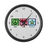 Peace Love Birthday Large Wall Clock