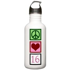 Peace Love Sweet 16 Water Bottle