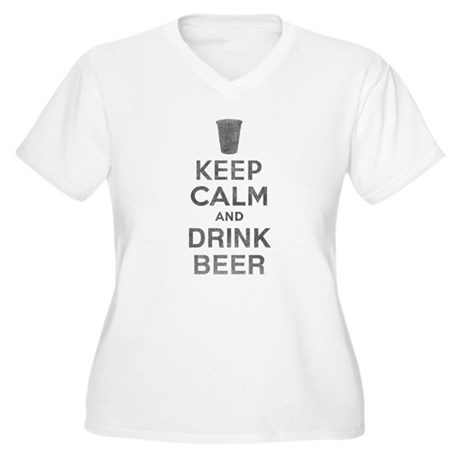 Keep Calm and Drink Beer Womens Plus Size V-Neck
