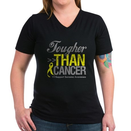 Tougher Than Cancer Women's V-Neck Dark T-Shirt