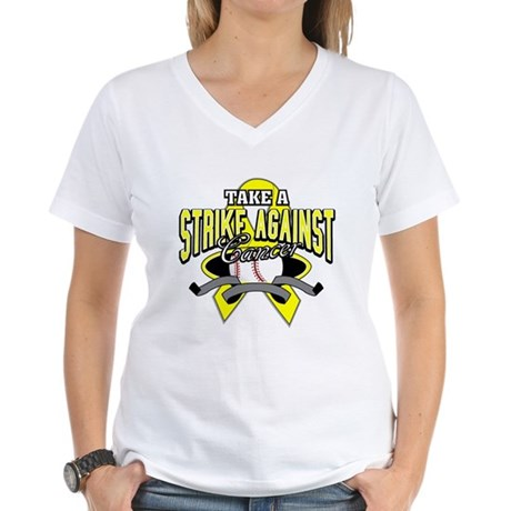 Take a Strike Sarcoma Cancer Women's V-Neck T-Shir
