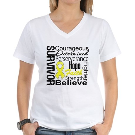 Sarcoma Survivor Collage Women's V-Neck T-Shirt