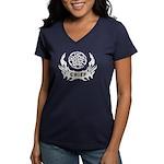 Fire Chief Tattoo Women's V-Neck Dark T-Shirt