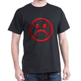Red Frowny Face black T