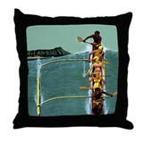 Vintage United Waikiki Poster Throw Pillow