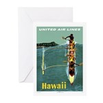 Vintage United Waikiki Poster Greeting Cards (Pack