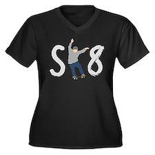 SK8 skateboarding Women's Plus Size V-Neck Dark T-