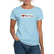 I Love My Cop Women's Pink T-Shirt