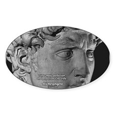 David with Michelangelo Quote Oval Decal