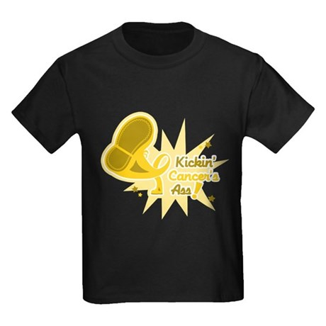 Kickin Childhood Cancer Ass Kids Dark T-Shirt