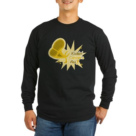 Kickin Childhood Cancer Ass Long Sleeve Dark T-Shi