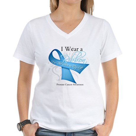I Wear Ribbon Prostate Cancer Women's V-Neck T-Shi
