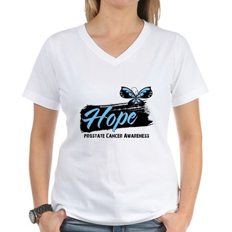 Hope - Prostate Cancer Women's V-Neck T-Shirt