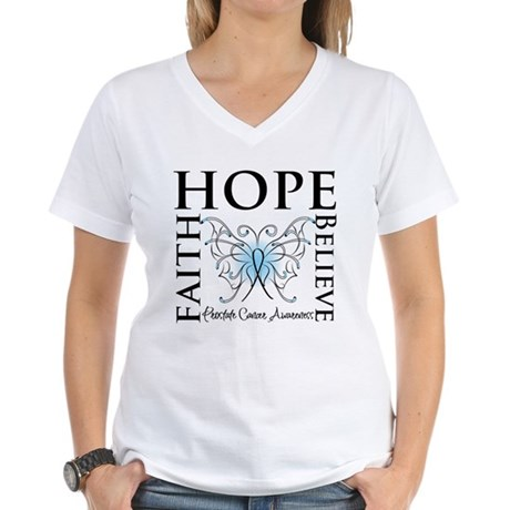 Hope Faith Prostate Cancer Women's V-Neck T-Shirt
