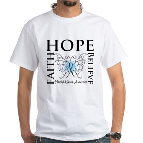 Hope Faith Prostate Cancer White T-Shirt