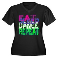Eat Sleep Dance Repeat Women's Plus Size V-Neck Da