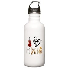 Unique Treble bass clef heart Water Bottle