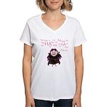 V: Evil Laugh Women's V-Neck T-Shirt