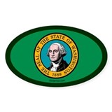 Washington State Flag Oval Decal