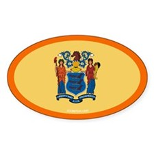New Jersey State Flag Oval Decal