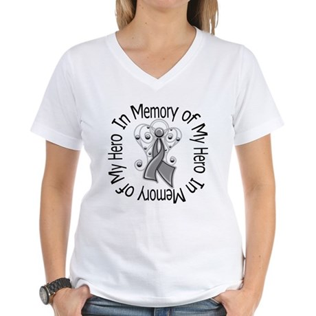 Brain Cancer In Memory Women's V-Neck T-Shirt