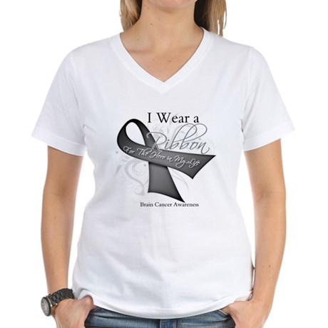 Brain Cancer Hero Ribbon Women's V-Neck T-Shirt