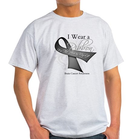 Brain Cancer Hero Ribbon Light T-Shirt