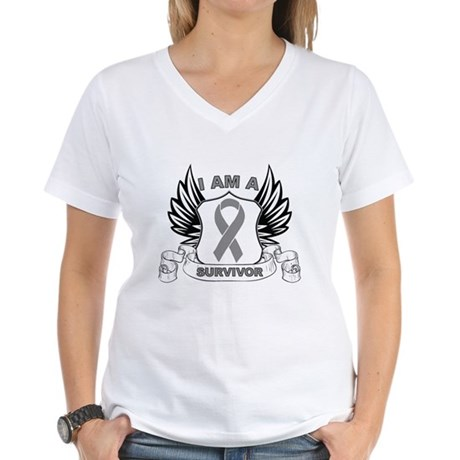 I'm a Brain Cancer Survivor Women's V-Neck T-Shirt