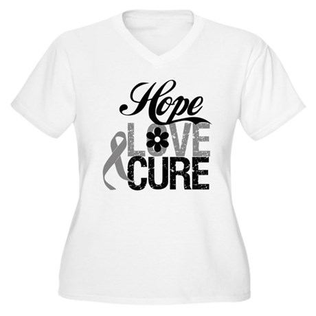 HopeLoveCure Brain Cancer Women's Plus Size V-Neck