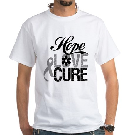 HopeLoveCure Brain Cancer White T-Shirt