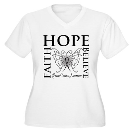 Brain Cancer Faith Believe Women's Plus Size V-Nec