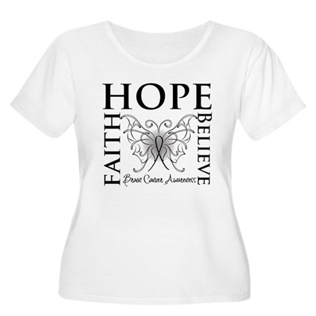 Brain Cancer Faith Believe Women's Plus Size Scoop