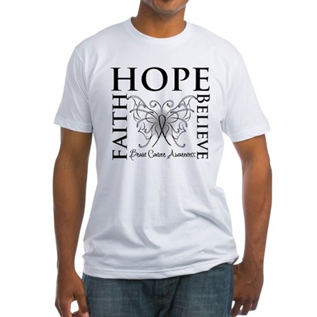 Brain Cancer Faith Believe Fitted T-Shirt