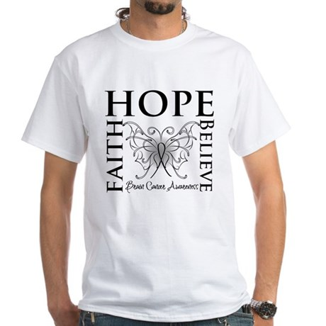 Brain Cancer Faith Believe White T-Shirt