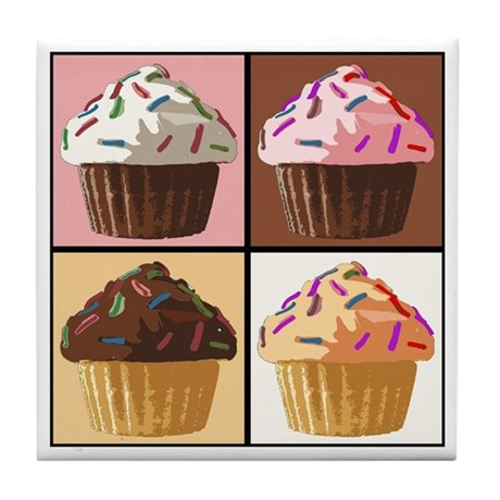 Pop Art Cupcake Tile Coaster