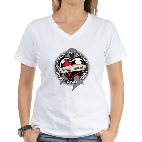 Brain Cancer Heart Ribbon Women's V-Neck T-Shirt