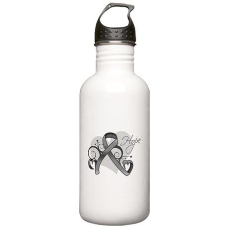 Hope Ribbon Brain Cancer Stainless Water Bottle 1.