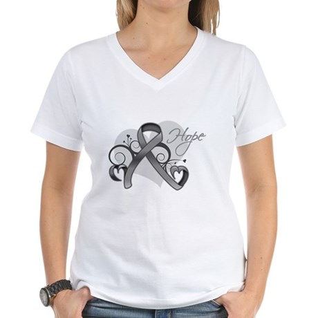Hope Ribbon Brain Cancer Women's V-Neck T-Shirt