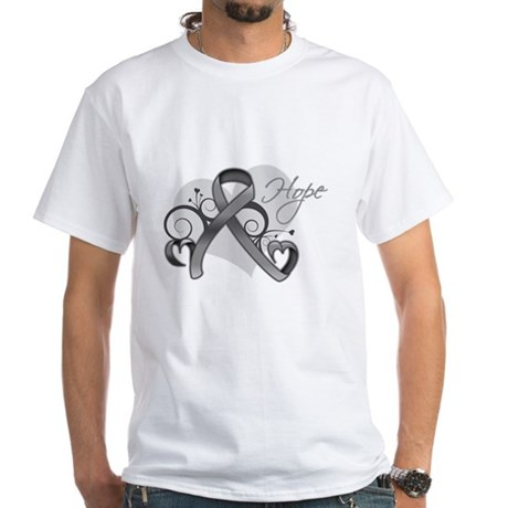 Hope Ribbon Brain Cancer White T-Shirt