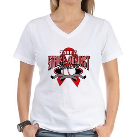 Take a Strike Blood Cancer Women's V-Neck T-Shirt